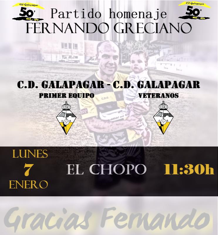 Cartel partido homenaje a Fernando Greciano